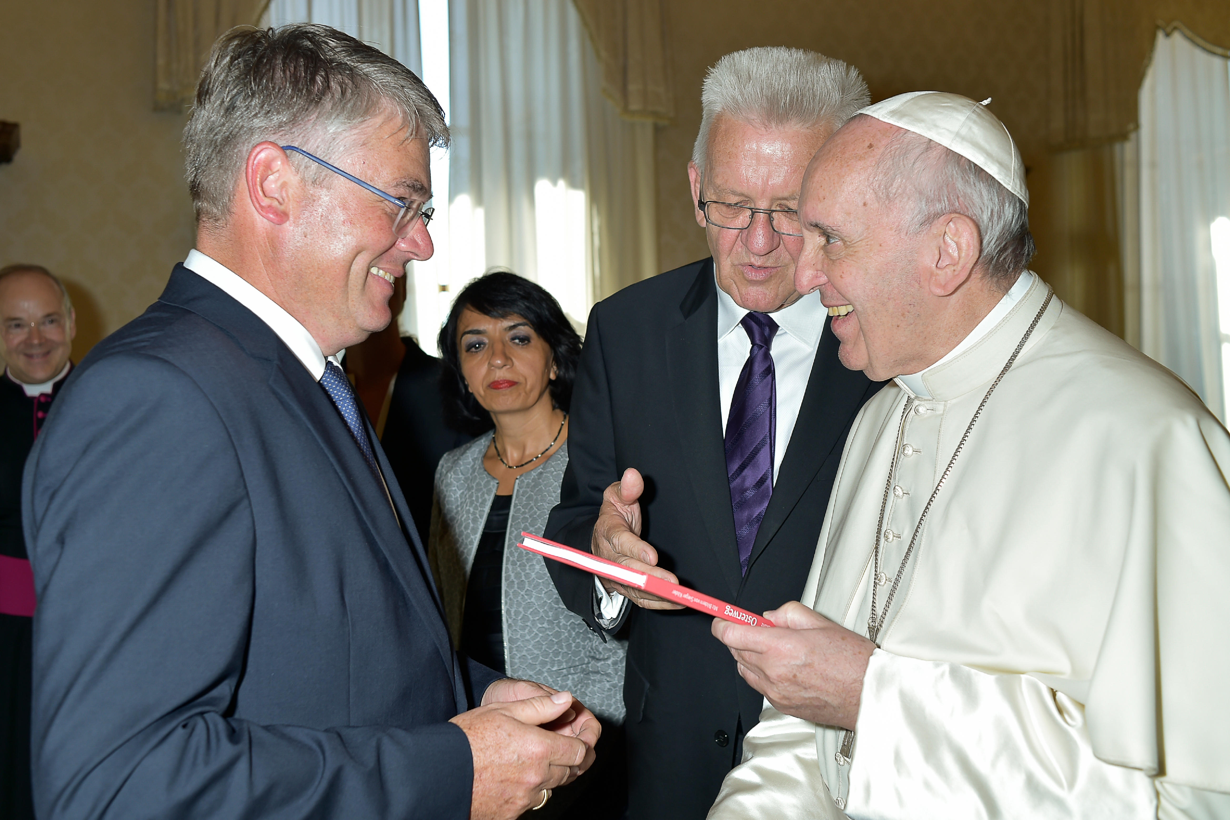 Winfried Mack MdL mit Papst Franziskus am 2. September 2016 in Rom